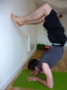 Scorpion pose practice
