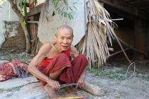 A friendly monk in Amarapura