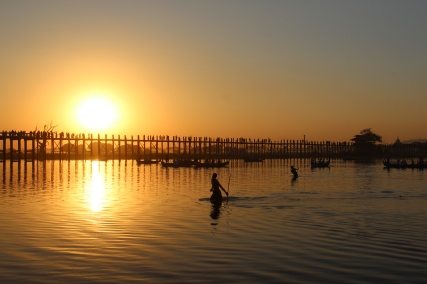 Sunset with Fisherman at Ubein's Bridge
