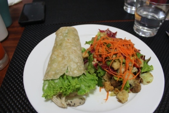 Yummy chicken and salad lunch
