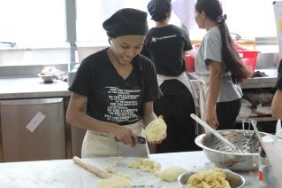 Preparing pies